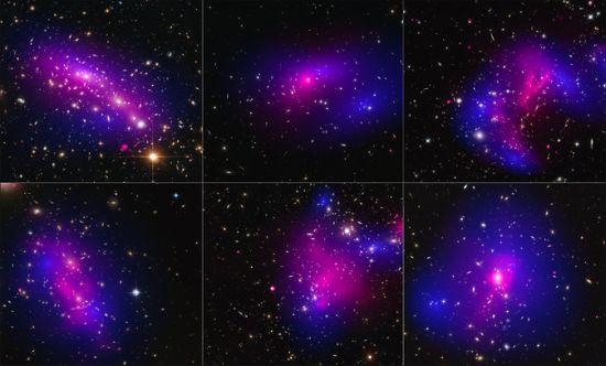 Οι εικόνες είναι από έξι διαφορετικά σμήνη γαλαξιών που ελήφθησαν με το διαστημικό τηλεσκόπιο Hubble της NASA (μπλε) και το Παρατηρητήριο Ακτίνων-Χ Chandra (ροζ) σε μια μελέτη για το πώς συμπεριφέρεται η σκοτεινή ύλη σε σμήνη των γαλαξιών όταν τα σμήνη συγκρούονται.