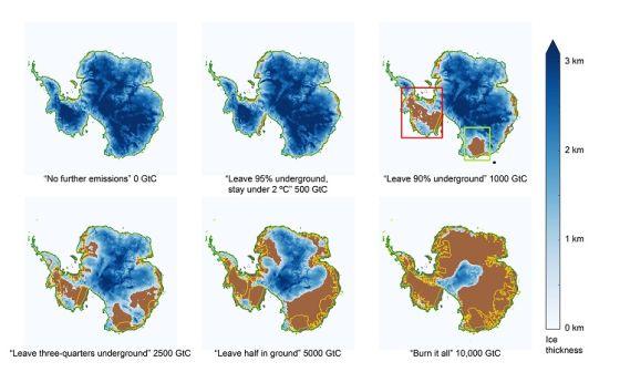 Η εικόνα δείχνει πως θα μπορούσε να επηρεαστεί ο πάγος στην Ανταρκτική από διάφορα σενάρια εκπομπών. (GtC: Γιγα-τόνοι Άνθρακα)