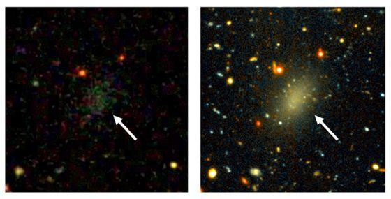 Ο σκοτεινός γαλαξίας Dragonfly 44. Η εικόνα αριστερά είναι από την Sloan Digital Sky Survey. Μόνο μια θαμπή μουντζούρα είναι ορατή. Η εικόνα δεξιά είναι μετά από μια μακρά έκθεση με το τηλεσκόπιο Gemini, που αποκαλύπτει ένα μεγάλο μακρόστενο αντικείμενο. (Εικόνες από Pieter van Dokkum, Roberto Abraham, Gemini, Sloan Digital Sky Survey)