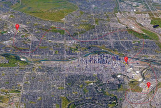Οι τρεις τοποθεσίες στην πόλη του Calgary στις οποίες εξελήχθηκε το πείραμα: Η τοποθεσία Β είναι το Πανεπιστήμιο του Calgary και η τοποθεσία C είναι ένα κτίριο δίπλα στο Δημαρχείο στο κέντρο του Calgary. Η απόσταση τηλεμεταφοράς - την περίπτωσή μας η απόσταση μεταξύ C και B είναι 6,2 Km.