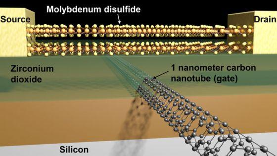 Σχηματική παρουσίαση ενός τρανζίστορ με ένα κανάλι διθειούχου μολυβδαινίου και μια πύλη από νανοσωλήνα άνθρακα 1 νανομέτρου (Credit: Sujay Desai/UC Berkeley)