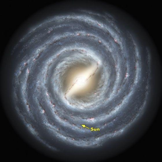 Απεικόνιση του Γαλαξία μας όπως αποδόθηκε από το Caltech, με τη θέση του Ήλιου μας σε αυτόν.