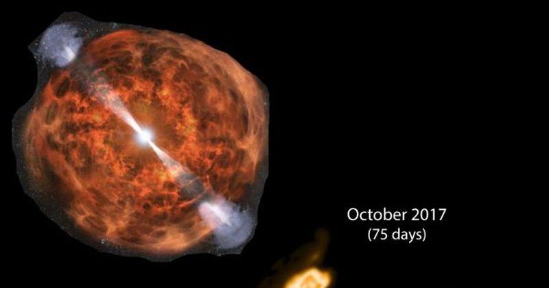 Παρατηρήσεις επιβεβαιώνουν υπερταχείς (φαίνονται ότι κινούνται τέσσερις φορές ταχύτερα από το φως) πίδακες υλικού από συγχώνευση άστρων νετρονίων