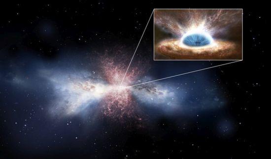 Άνεμος μαύρης τρύπας (στο μικρό πλαίσιο) διώχνει μακριά το γαλαξιακό αέριο (στο κέντρο της εικόνας)