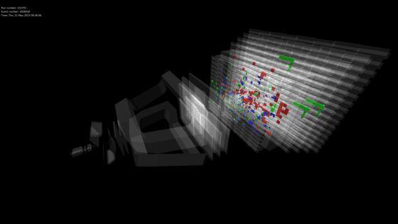 Σύγκρουση πρωτονίων στα 13 TeV στέλνει καταιονισμό σωματίων μέσω του ανιχνευτή του LHCb (Εικόνα: LHCb)