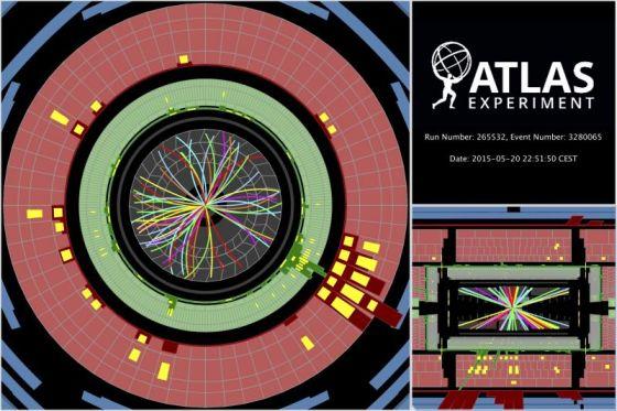 Σύγκρουση πρωτονίων στα 13 TeV στέλνει καταιονισμό σωματίων μέσω του ανιχνευτή του ATLAS (Εικόνα: ATLAS)