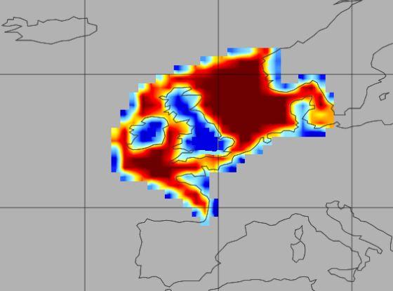 Ευρωπαϊκές θάλασσες: Το κόκκινο και το πορτοκαλί είναι οι περιοχές του νερού που χρησιμοποιήθηκαν για τον υπολογισμό των ροών του αερίου μεταξύ ατμόσφαιρας και ωκεανού.