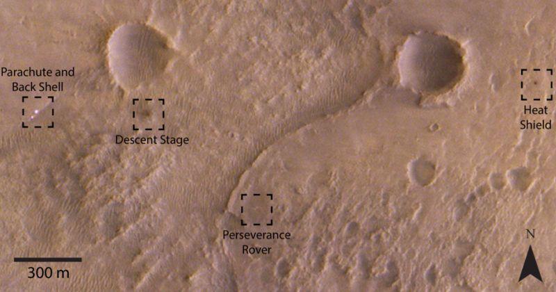Εικόνα της σκηνής προσεδάφισης του Perseverance από το τροχιακό ExoMars